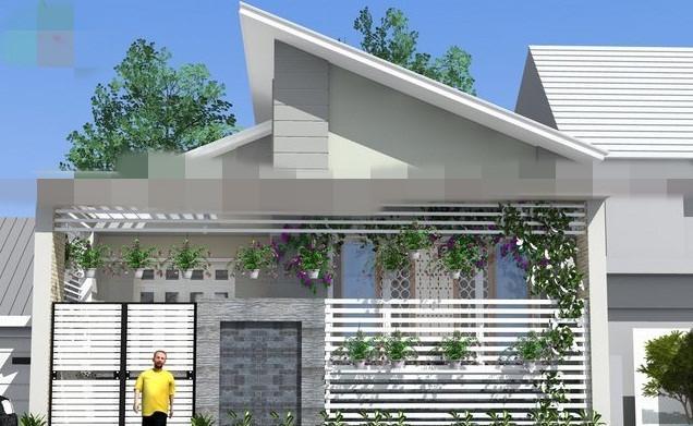 Nhà cấp 4 mái lệch lấy ánh sáng chủ yếu ở mặt tiền chính và được thiết kế thêm một giếng trời ở phía sau. Ảnh: Vinahouse.