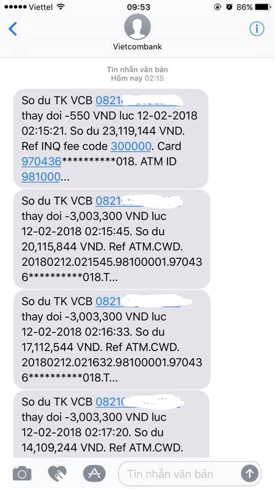 Có ít nhất 10 khách hàng tại Thái Nguyên bị đánh cắp tiền trong tài khoản. Ảnh chụp màn hình.