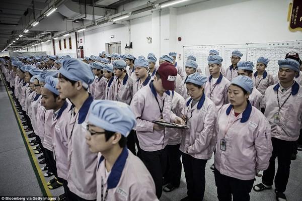 Kiểm soát viên sử dụng một chiếc iPad để kiểm tra thẻ của công nhân.