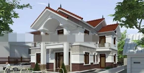 Mẫu biệt thự mini 2 tầng dành cho gia đình 2 đến 3 thế hệ. Tầng trệt gồm 1 phòng ngủ, 1 phòng thờ, 1 phòng khách rộng và không gian phía sau là bếp ăn có lối ra vườn sau. Ảnh: Thietkenhadepmoi.