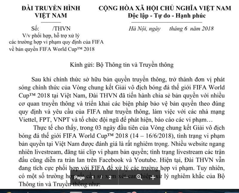 VTV có công văn nhờ Bộ Thông tin-Truyền thông vào cuộc xử lý mạnh tay với những vi phạm bản quyền World Cup