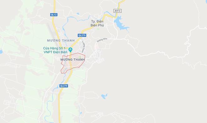 Hiện trường vụ việc tại địa bàn phường Mường Thanh, TP. Điện Biên. Ảnh: google maps.