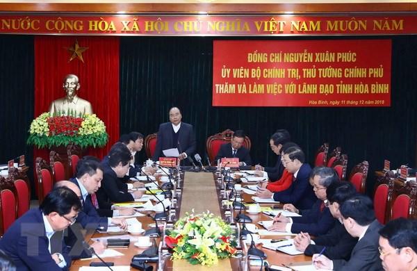 Thủ tướng Nguyễn Xuân Phúc phát biểu kết luận buổi làm việc. (Ảnh: Thống Nhất/TTXVN)