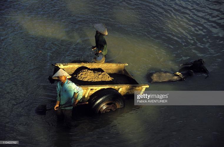 Công nhân khai thác cát trên sông Nậm Rốm.