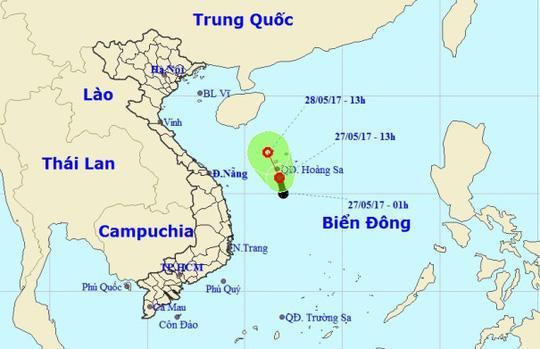 Vị trí và dự báo đường đi của vùng áp thấp - Nguồn: Trung tâm Dự báo khí tượng thủy văn Trung ương