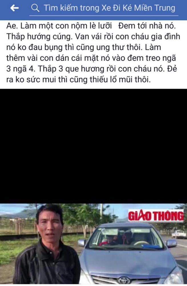 Một hành khách phản ánh thông tin đến Báo Giao thông về vấn nạn xe 7 chỗ chạy chui, trá hình cũng bị Facebook Đi xe ké miền Trung viết satus đe dọa, xúc phạm. Ảnh chụp lại màn hình