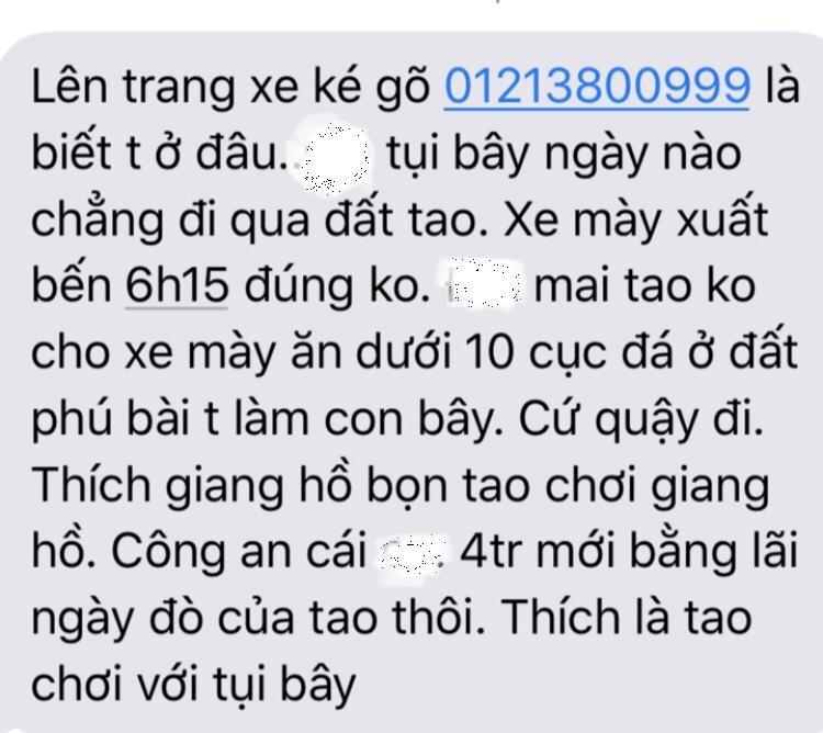 Một trong số tin nhắn khủng bố anh T. được cho là của chủ xe 7 chỗ chạy chui.