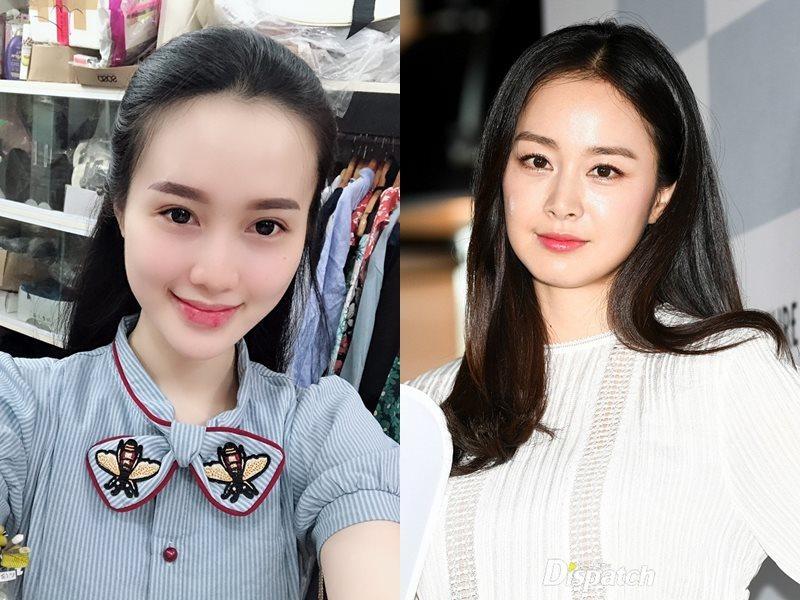 Mỹ Hồng(trái), được ví von là Kim Tae Hee bản Việt(phải)