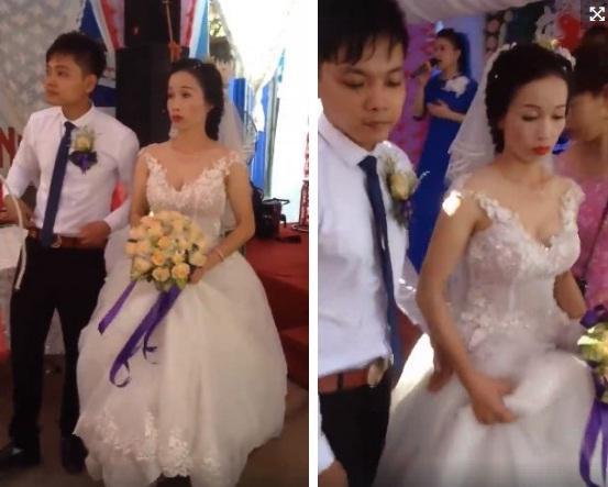 Hình ảnh đám cưới của chú rể Hoàng Bền và cô dâu Lan Phương. Ảnh cắt từ clip