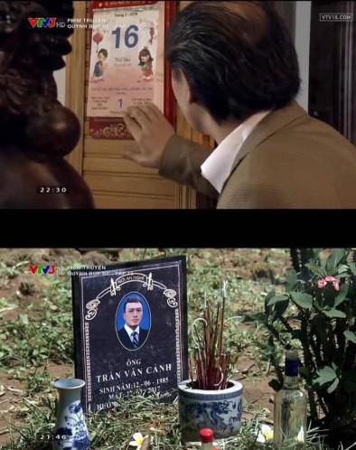 Trong ảnh, ông Cấn ăn Tết Nguyên Đán vào ngày 16/2/2018, nhưng bia mộ của Cảnh lại ghi ngày mấy là 22/3/2017.