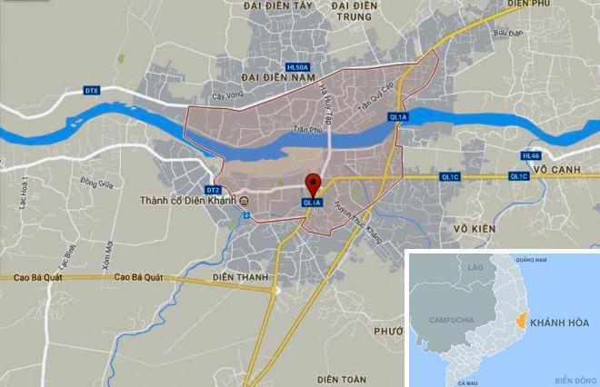 Chấm đỏ là gần nơi xảy ra vụ án ở thị trấn Diên Khánh. Ảnh: Google Maps