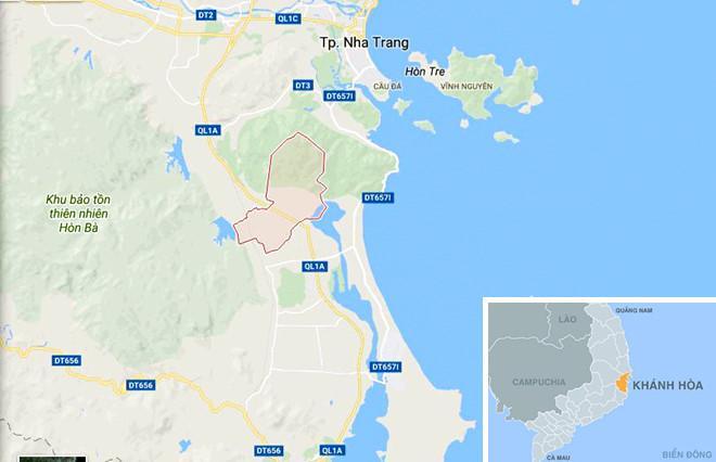 Xã Cam Hòa (màu hồng) nơi xảy ra sự việc đau lòng. Ảnh: Google Maps