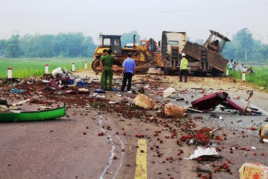 Hiện trường vụ tai nạn. Ảnh: VTC News