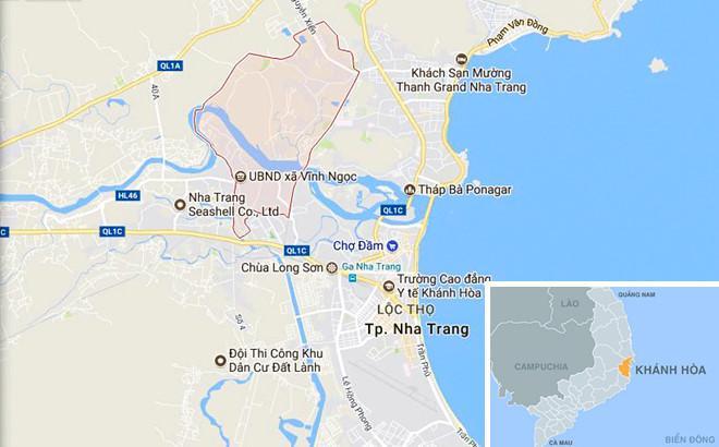 Xã Vĩnh Ngọc (màu hồng) nơi xảy ra vụ án. Ảnh: Google Maps