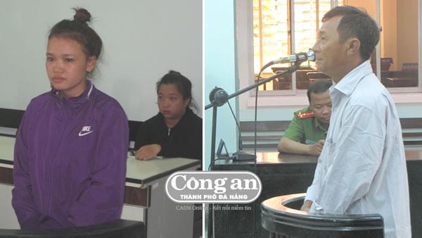 Bị cáo Lâm Thị Thu Nhàn và Nguyễn Thành Nhân trước vành móng ngựa.