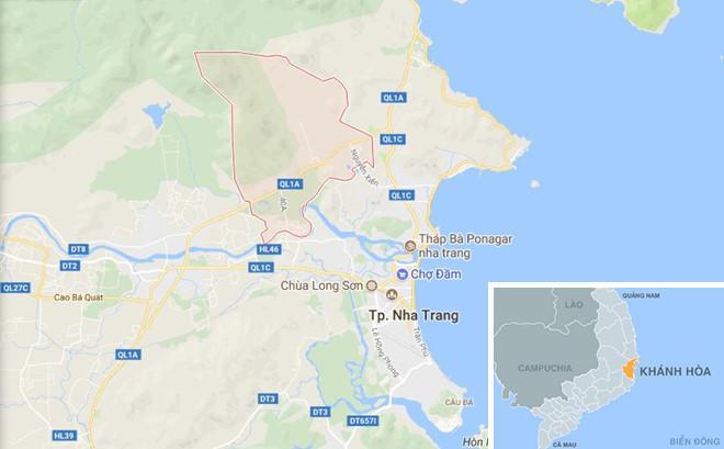 Xã Vĩnh Phương (màu hồng) nơi xảy ra vụ cướp đêm ngày 17/10. Ảnh: Google Maps