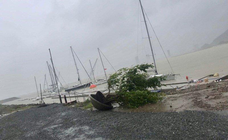 Nhiều thuyền du lịch bị chìm ở bến. Ảnh: Đ.Hiển/PLO