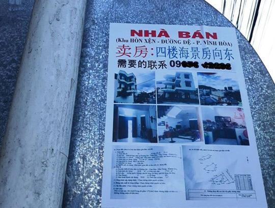 Ở TP Nha Trang, việc rao bán nhà, đất bằng tiếng Trung Quốc xuất hiện ở nhiều nơi