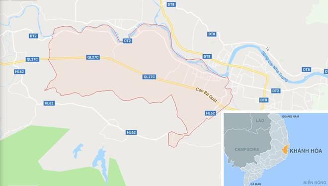 Xã Diên Thọ, huyện Diên Khánh (màu hồng) - nơi xảy ra vụ việc. Ảnh: Google Maps.