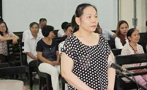 Bị cáo Trương Thị Thúy Kiều tại phiên xử sơ thẩm.