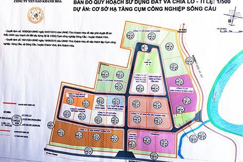 Bản đồ quy hoạch tổng thể và chia lô Cụm công nghiệp Sông Cầu.