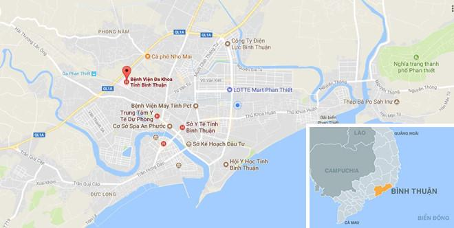 Bệnh viện Đa khoa tỉnh Bình Thuận đang tích cực liên lạc với sản phụ mẹ bé gái. Ảnh: Google Maps.