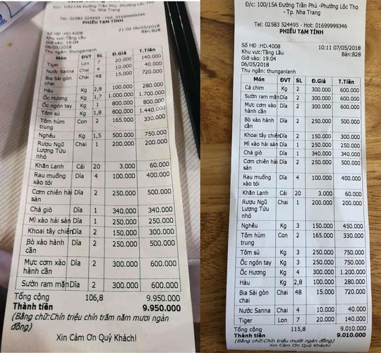 Hai hóa đơn khác biệt về giá (Bên trái do khách cung cấp, bên phải do nhà hàng cung cấp)