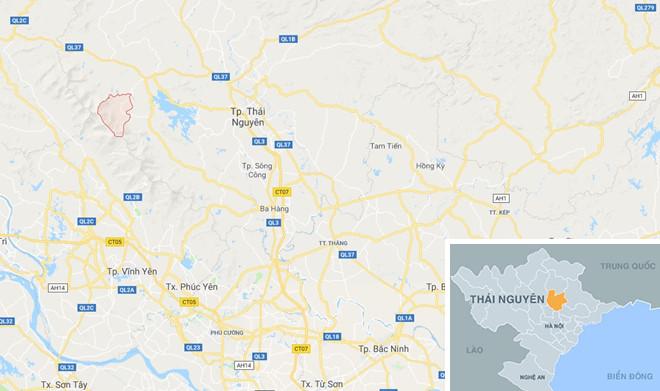 Xã Mỹ Yên (vùng màu đỏ) nơi xảy ra vụ việc. Ảnh:Google Maps.