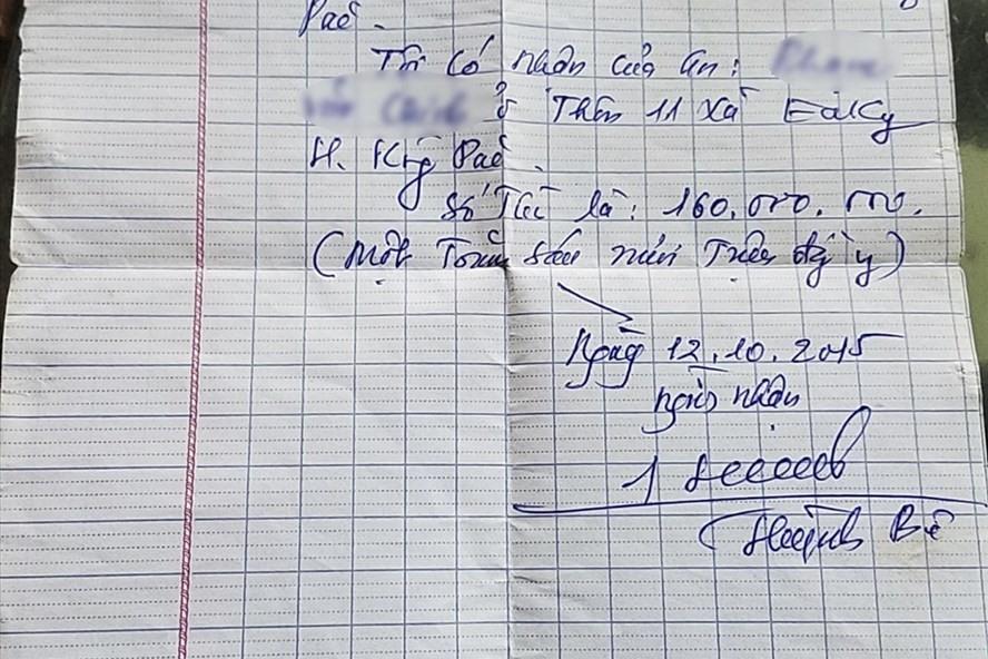 """Một giấy viết tay của ông Huỳnh Bê với nội dung """"mượn tiền"""""""