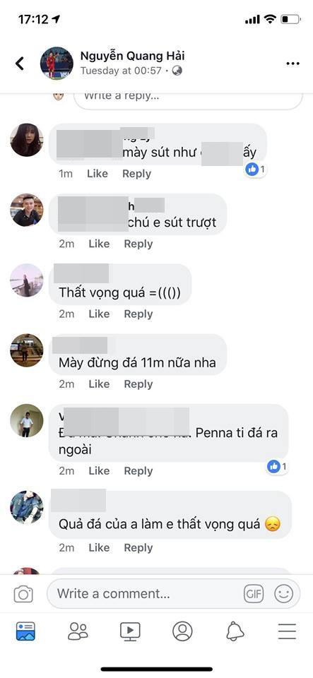 Cổ động viên quá khích chửi bới Quang Hải trên trang cá nhân của tuyển thủ Olympic Việt Nam.