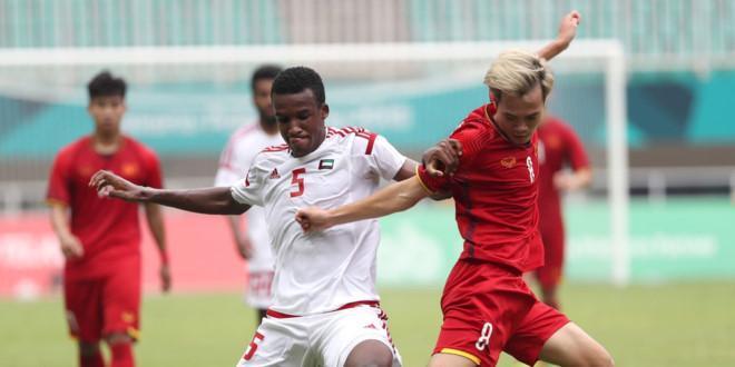 Trận đấu giữa Olympic Việt Nam - Olympic UAE diễn ra đầy kịch tính. (Nguồn: Fox Sport châu Á)