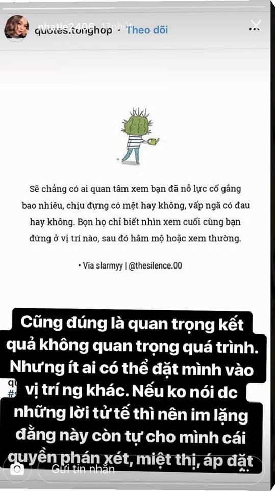 Dòng chia sẻ của bạn gái Quang Hải nhanh chóng nhận được sự đồng tình của người hâm mộ. Ảnh chụp màn hình.