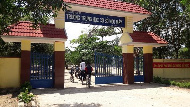 Trường THCS Ngô Mây nơi ông Bê từng làm hiệu trưởng. (Ảnh: Trang Anh)
