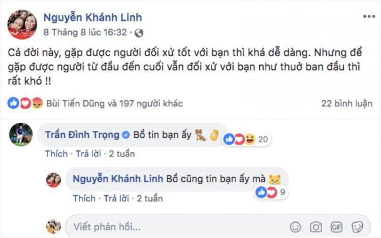 Trần Đình Trọng - cầu thủ thân nhất với chàng trung vệ cũng từng để lại bình luận tại trang cá nhân của Khánh Linh.