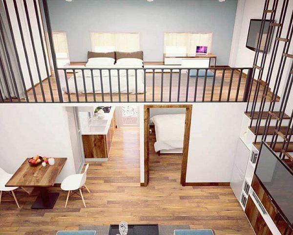 Gam màu chủ đạo của căn hộ là màu trắng, kết hợp với nội thất gỗ sang trọng.