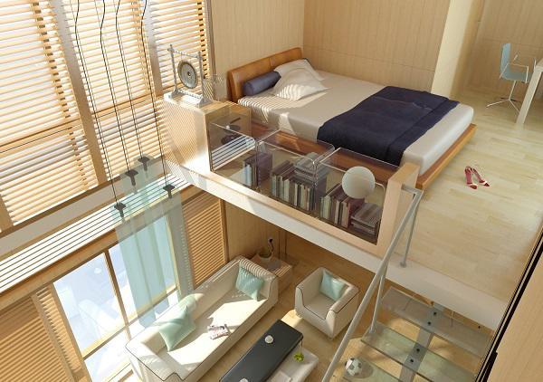 Nhà có diện tích chật hẹp, bạn nên tận dụng khoảng trống cao sát trần nhà để tạo gác lửng, sử dụng như phòng ngủ, nơisinh hoạt,...