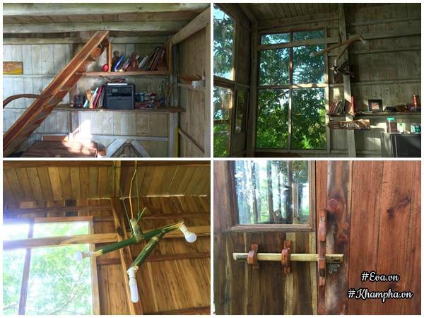 Cây cối làm nhà anh mua của người dân ở đảo, còn những gì không thể dùng bằng vật liệu tự nhiên anh mới mang vác lên để xây dựng.