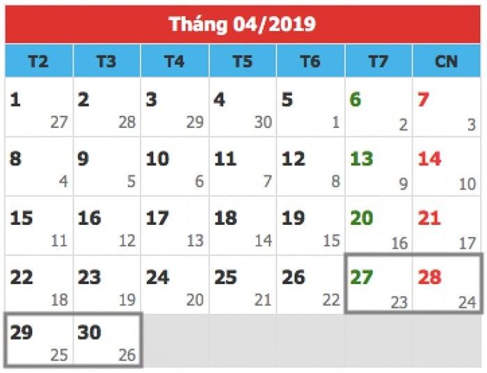 Dịp lễ 30/4- 1/5/2019 sẽ được nghỉ 5 ngày
