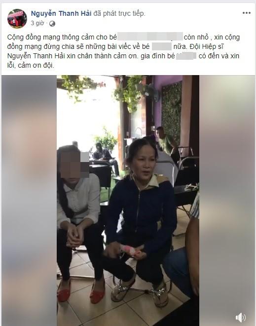 Hiệp sĩ Nguyễn Thanh Hải chia sẻ buổi gặp gỡ gia đình nữ sinh B.H trên trang cá nhân và mong cộng đồng mạng thông cảm cho nữ sinh này.