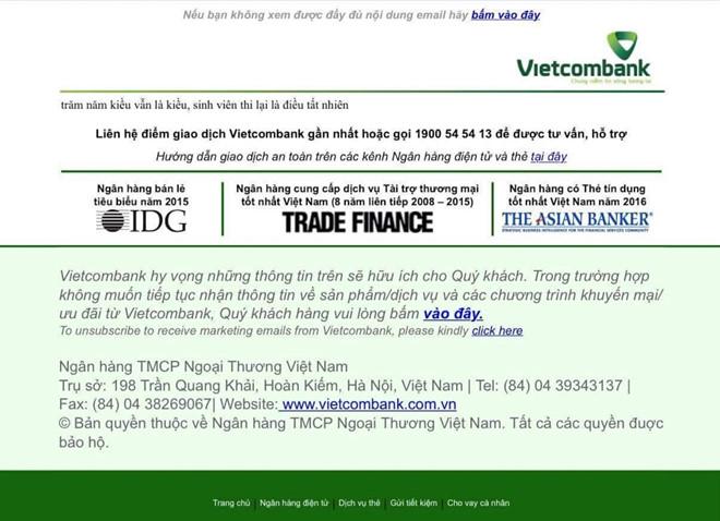 Câu thơ chế hiển thị trên trang Vietcombank khi bị tấn công.