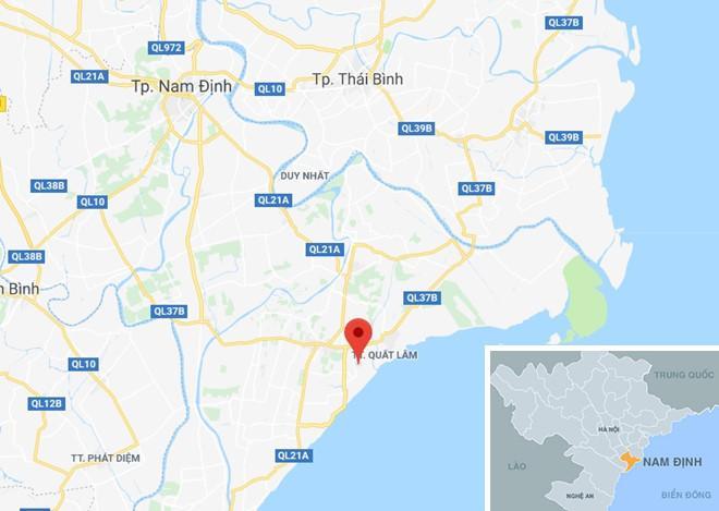 Xã Hải Lộc (chấm đỏ) nơi xảy ra vụ việc. Ảnh: Google Maps.