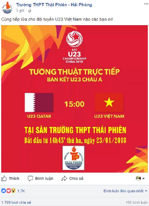 Trường THPT Thái Phiên (Hải Phòng) tổ chức xem bóng đá tập thể