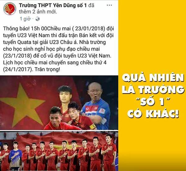 Trường THPT Yên Dũng số 1 (Bắc Giang) thông báo cho học sinh nghỉ học phụ đạo