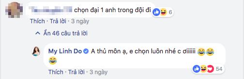"""Và bất ngờ là, sau khi kết thúc trận bán kết nghẹt thở với Qatar, chàng thủ môn xứ Thanh đã đáp lại tấm lòng của Đỗ Mỹ Linh bằng một bình luận trên facebook: """"Em nghĩ trong tình yêu, tuổi tác là một khái niệm lỗi thời rồi chứ chị""""."""