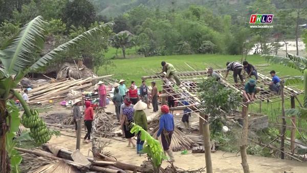 Huyện Bảo Yên tập trung khắc phục thiệt hại do dông lốc gây ra.