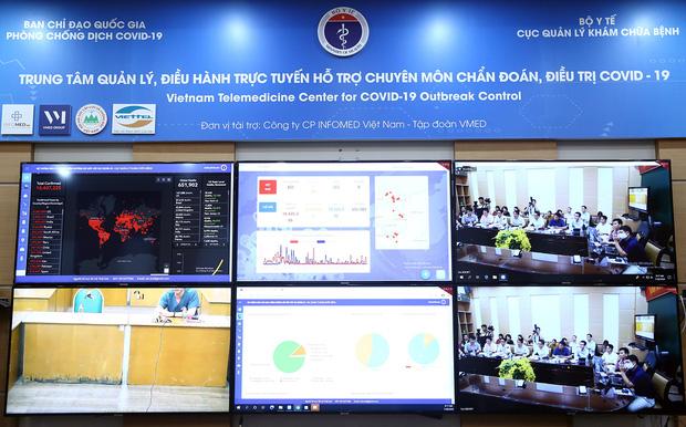 Cuộc họp trực tuyến giữa Phó Thủ tướng Vũ Đức Đam với các bệnh viện (ảnh VGP)