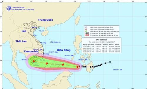 Bão Tembin được dự báo là cơn bão mạnh, di chuyển nhanh và còn diễn biến phức tạp.