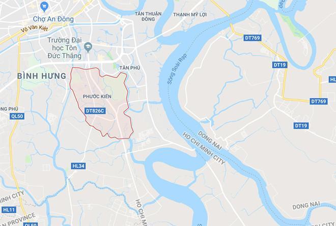 Xã Phước Kiểng (màu hồng), huyện Nhà Bè , TP.HCM, nơi xảy ra sự cố. Ảnh: Google Maps.