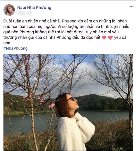 Chia sẻ mới nhất của Nhã Phương được cô đăng tải trên trang cá nhân sau nhiều ngày im lặng.