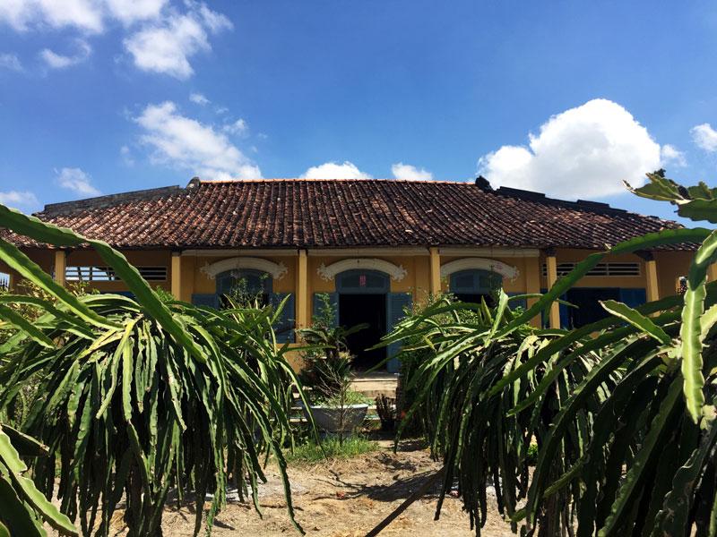 Ngôi nhà của ông Tư Xuân nằm giữa vườn thanh long.